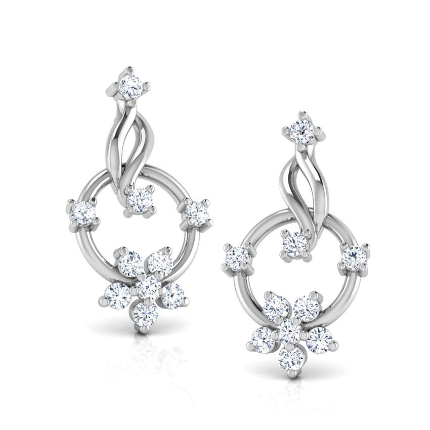 Diamond Earrings 18 Karat White Gold Circle Cluster Diamond Stud Earrings