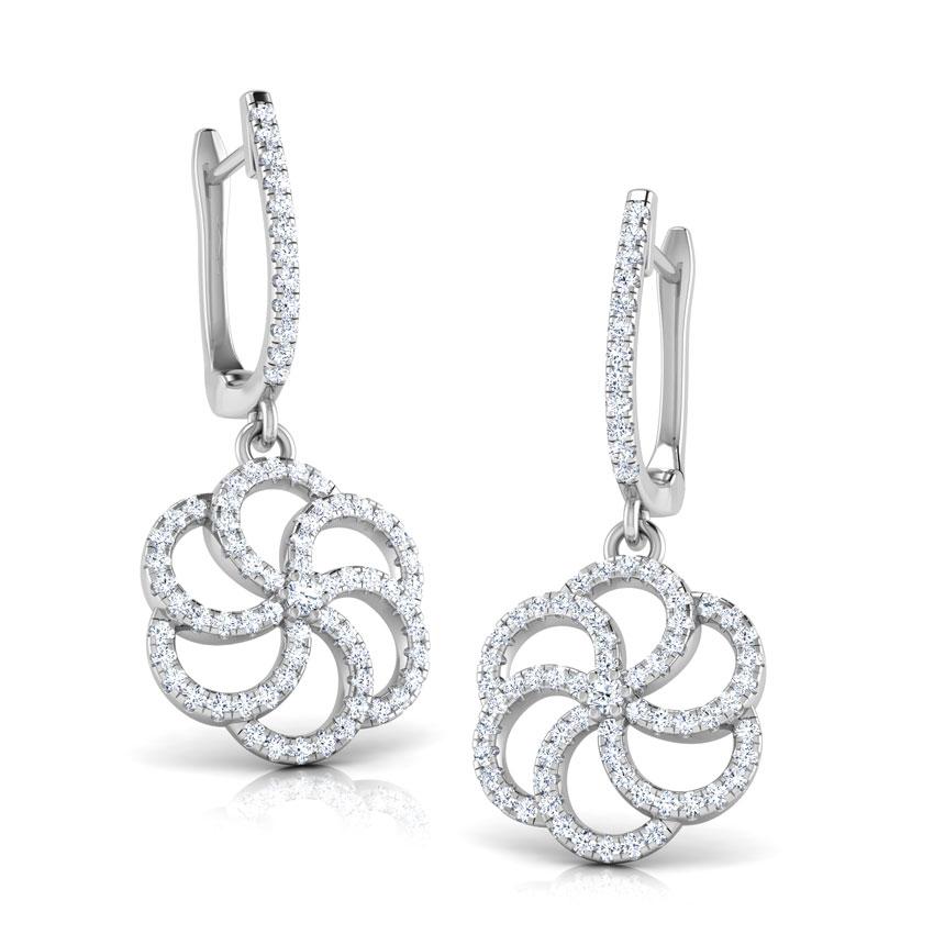 Diamond Earrings 14 Karat White Gold Swirl Flower Diamond Hoop Earrings