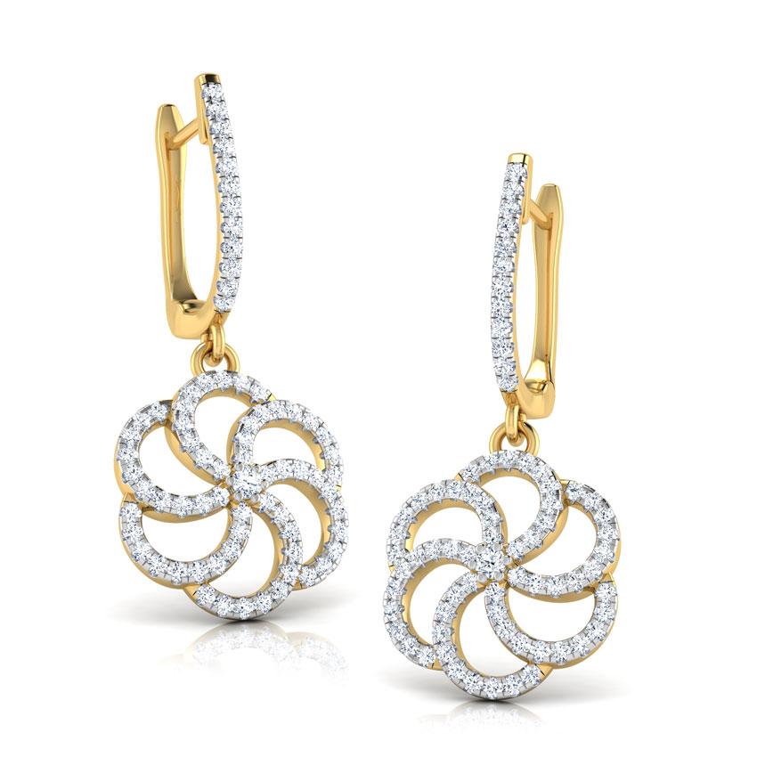 Diamond Earrings 18 Karat Yellow Gold Swirl Flower Diamond Hoop Earrings