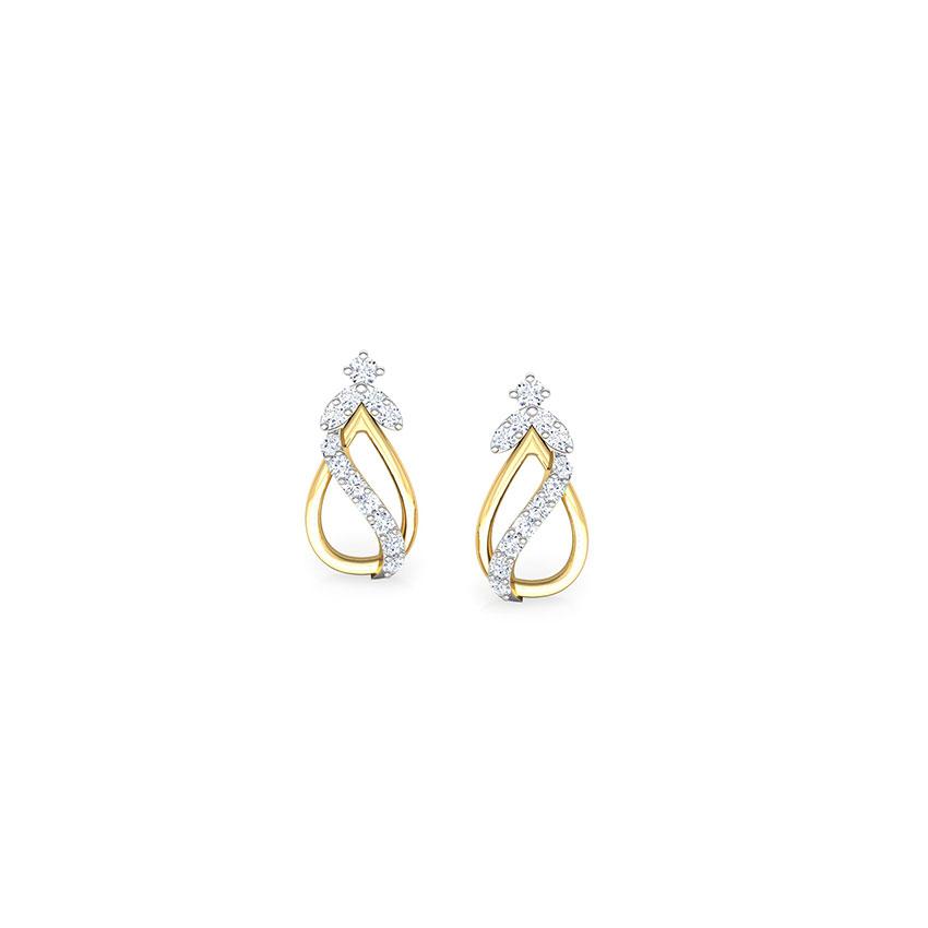 Diamond Earrings 18 Karat Yellow Gold Tress Elegant Diamond Stud Earrings