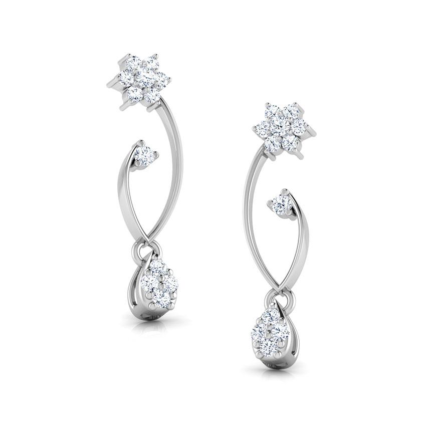 Diamond Earrings 18 Karat White Gold Floral Swirl Diamond Drop Earrings