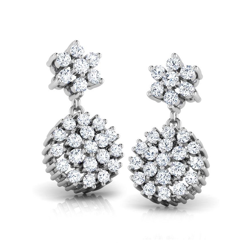 Diamond Earrings 18 Karat White Gold Celinda Cluster Diamond Drop Earrings