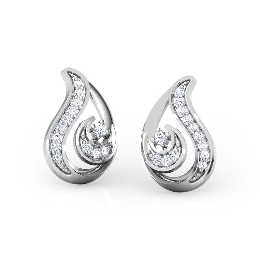 Diamond Earrings 18 Karat White Gold Paisley Swirl Diamond Stud Earrings