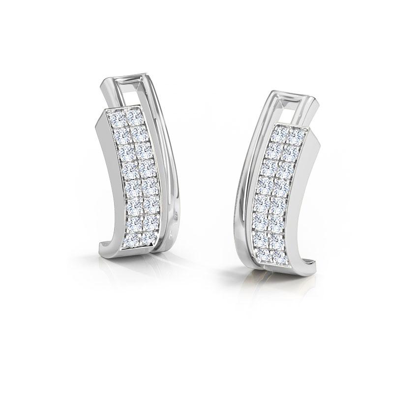 Diamond Earrings 14 Karat White Gold Aumia 2-Row Diamond Hoop Earrings