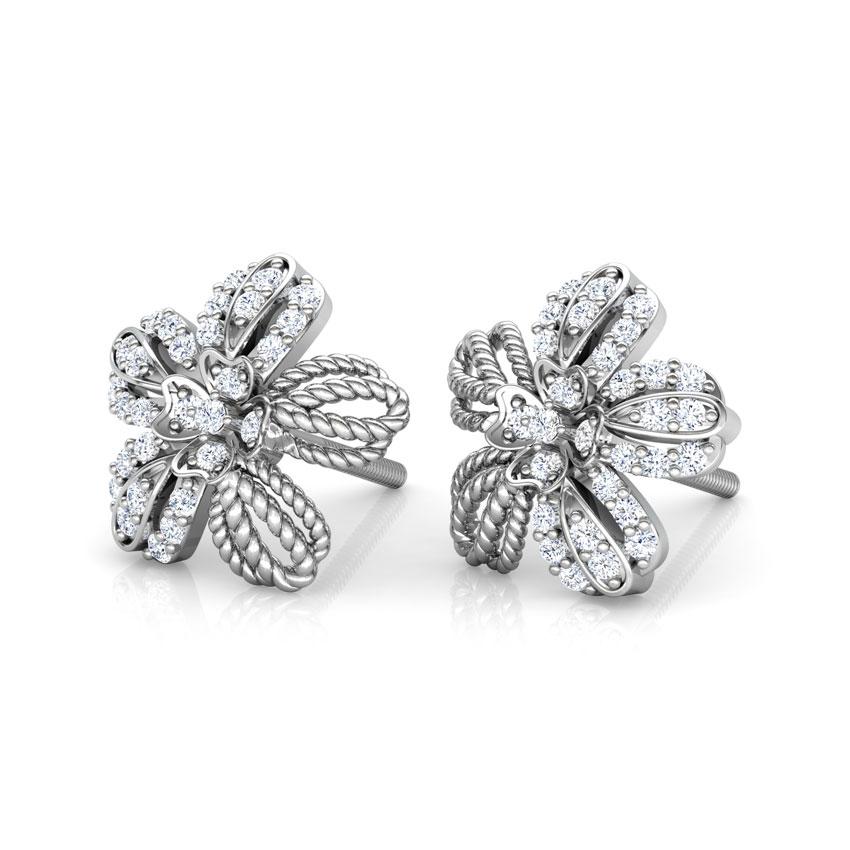 Diamond Earrings 14 Karat White Gold Buttercup Flower Diamond Stud Earrings