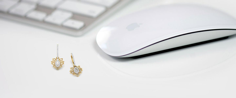 Diamond Earrings 18 Karat Yellow Gold Looped Lotus Diamond Hoop Earrings