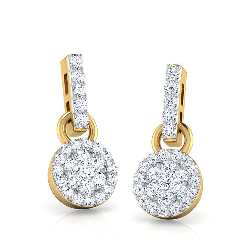 Diamond Earrings 14 Karat Yellow Gold Tilly Cluster Diamond Drop Earrings