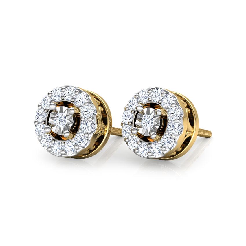 Diamond Earrings 18 Karat Yellow Gold Hala Diamond Stud Earrings