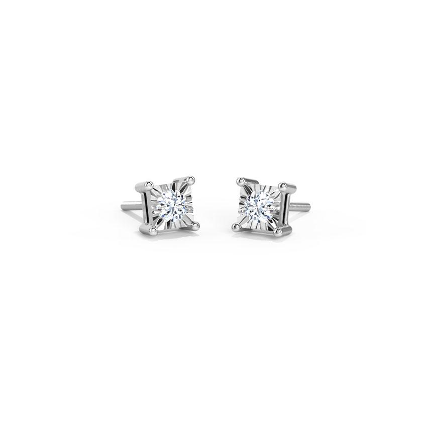 Diamond Earrings 18 Karat White Gold Tia Diamond Stud Earrings