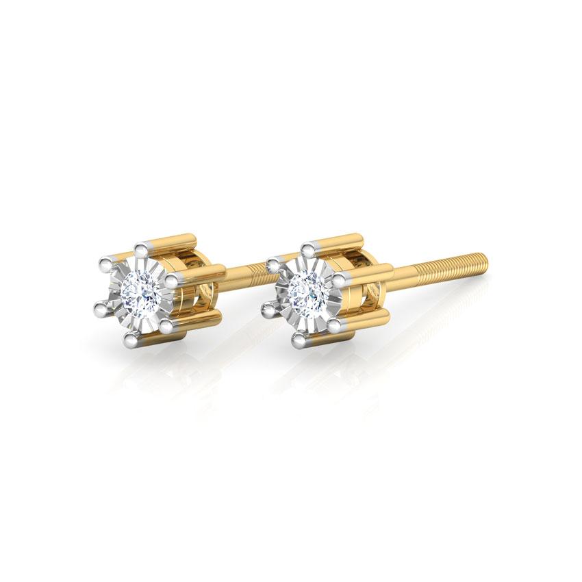 Diamond Earrings 18 Karat Yellow Gold Inina Miracle Plate Diamond Stud Earrings