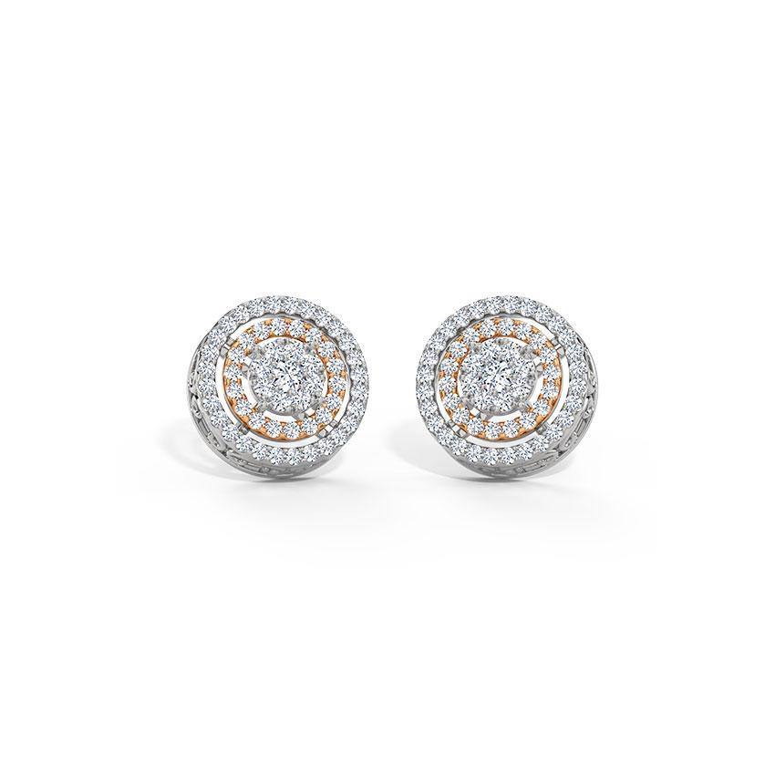 Diamond Earrings 18 Karat White Gold Ripple Cluster Diamond Stud Earrings