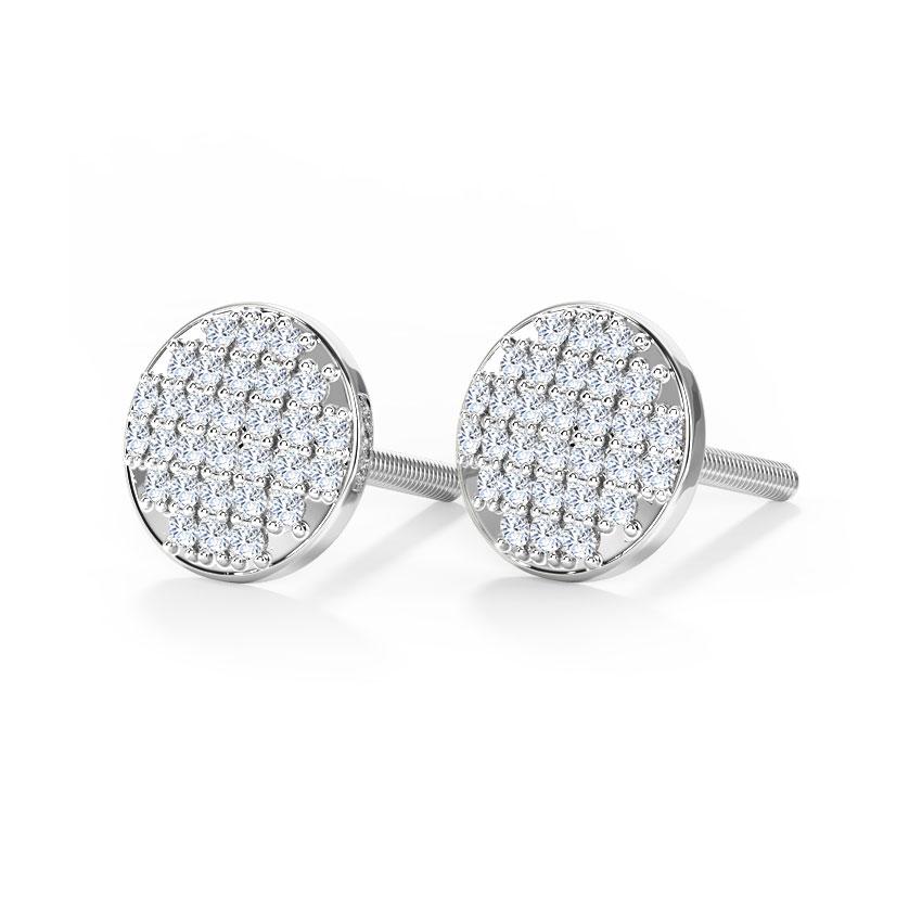 Diamond Earrings 14 Karat White Gold Emma Glitter Diamond Stud Earrings