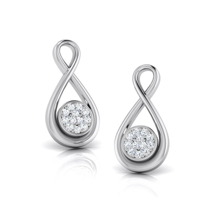Diamond Earrings 18 Karat White Gold Ana Knotted Diamond Stud Earrings