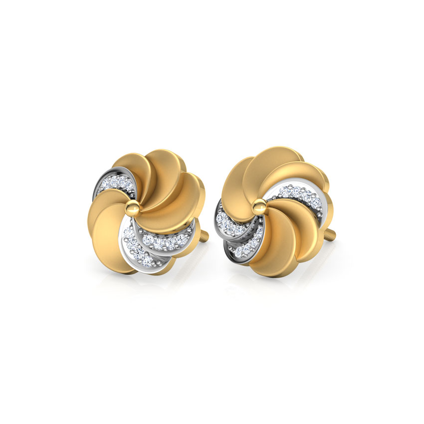 Diamond Earrings 18 Karat Yellow Gold Estella Ripple Diamond Stud Earrings