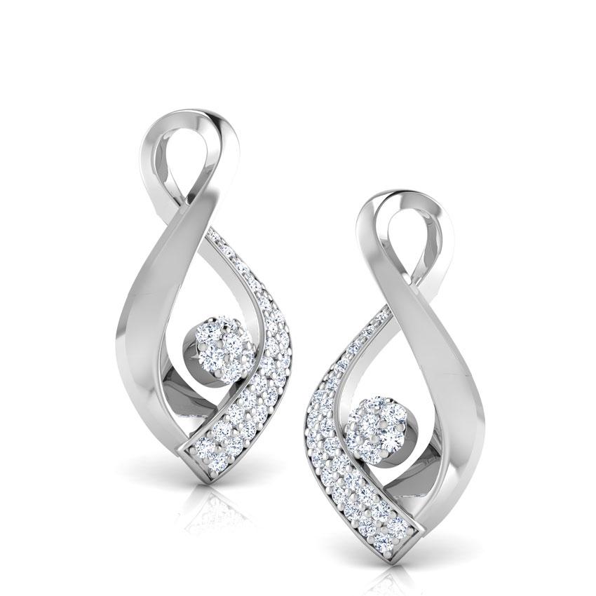 Diamond Earrings 14 Karat White Gold Calla Petalled Diamond Stud Earrings