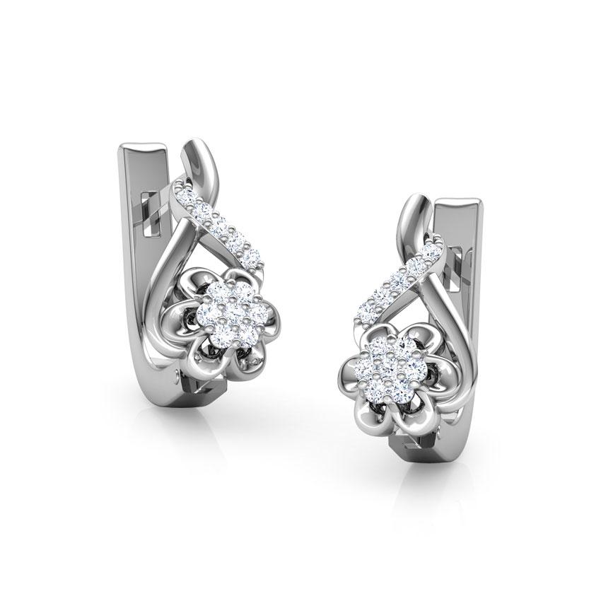 Diamond Earrings 18 Karat White Gold Jennifer Flower Diamond Hoop Earrings