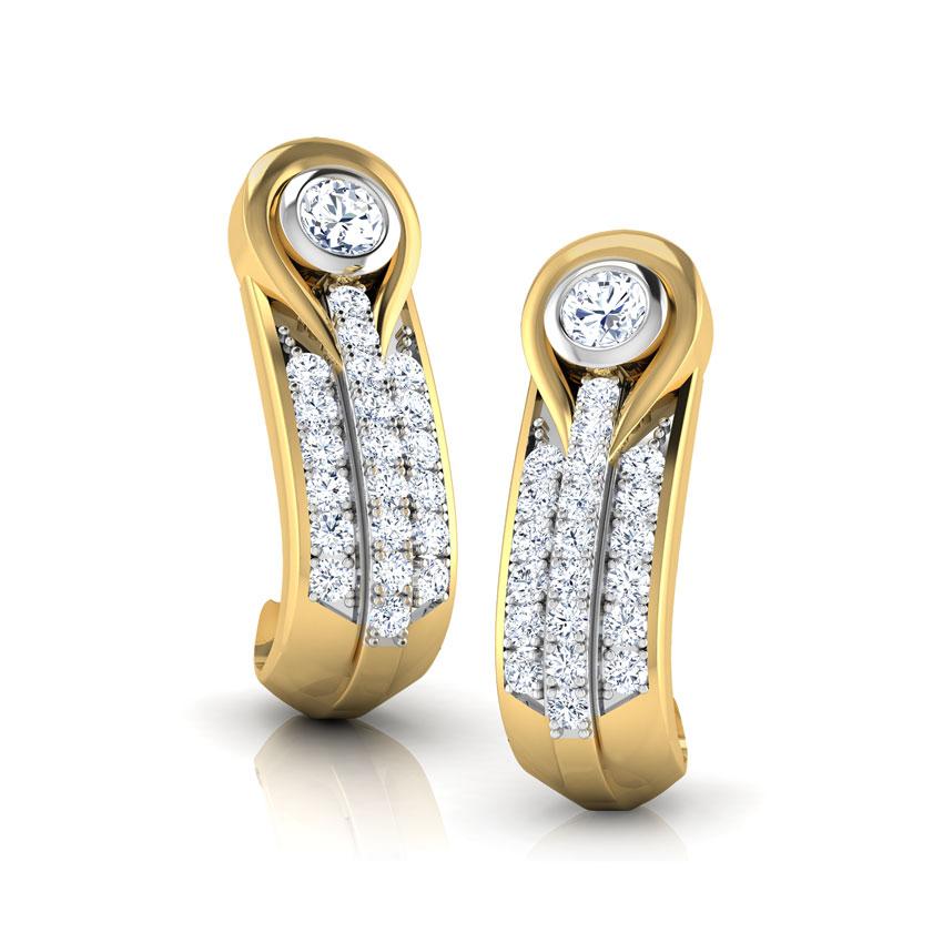 Diamond Earrings 18 Karat Yellow Gold Cilla Twist Diamond Hoop Earrings