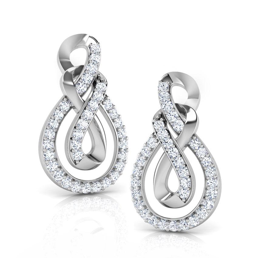 Diamond Earrings 14 Karat White Gold Ayla Double Knot Diamond Stud Earrings