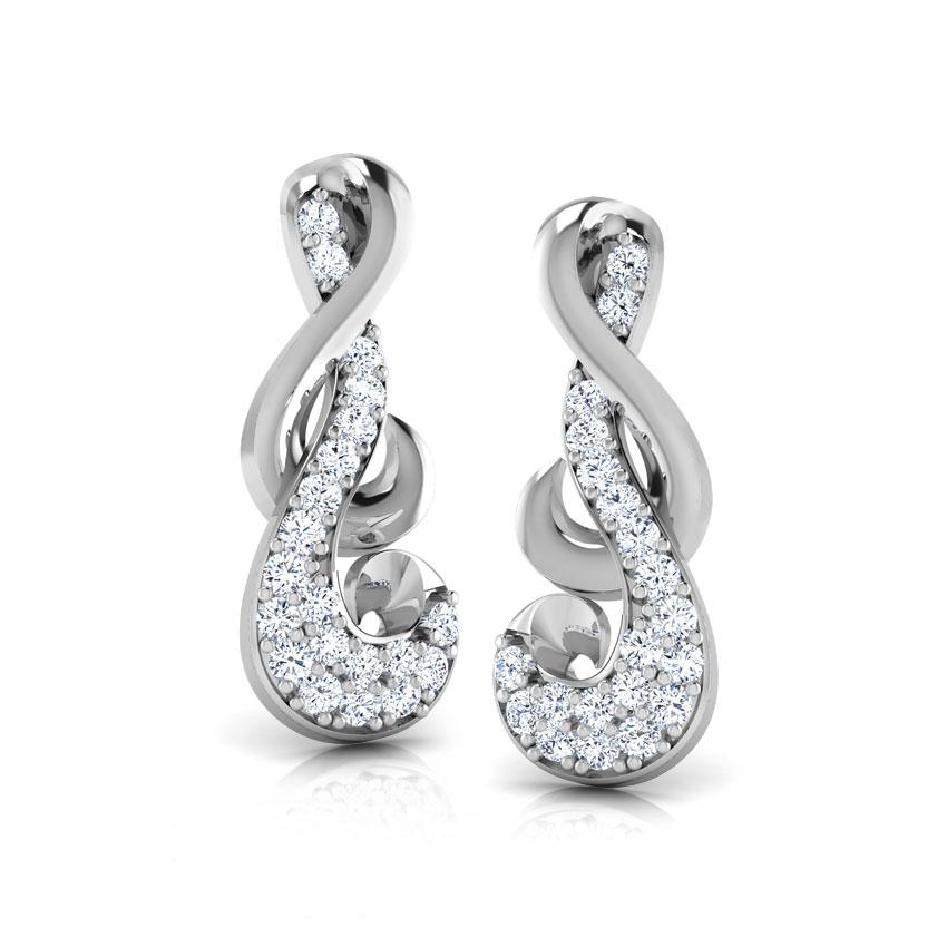 Diamond Earrings 18 Karat White Gold Entwined Diamond Stud Earrings