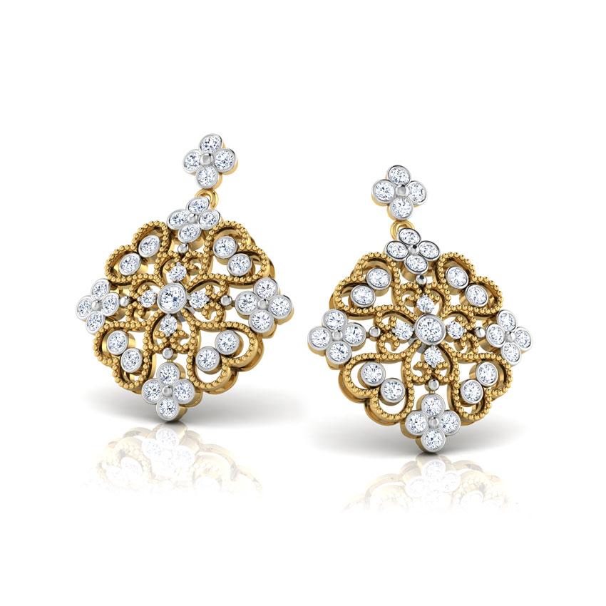 Diamond Earrings 18 Karat Yellow Gold Caroline Victorian Diamond Drop Earrings