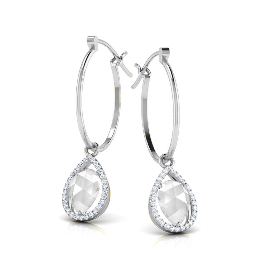 Diamond,Gemstone Earrings 18 Karat White Gold Bianca Sparkle Gemstone Hoop Earrings