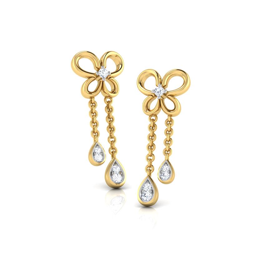 Diamond Earrings 18 Karat Yellow Gold Butterfly Dew Kids' Diamond Earrings