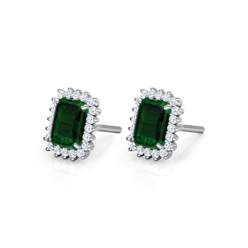 Diamond,Gemstone Earrings 18 Karat White Gold Haze Elegance Gemstone Stud Earrings