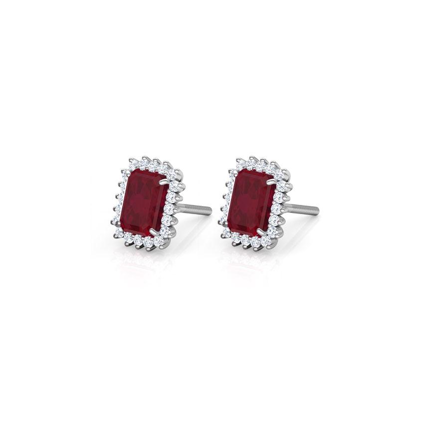 Diamond,Gemstone Earrings 14 Karat White Gold Haze Elegance Gemstone Stud Earrings