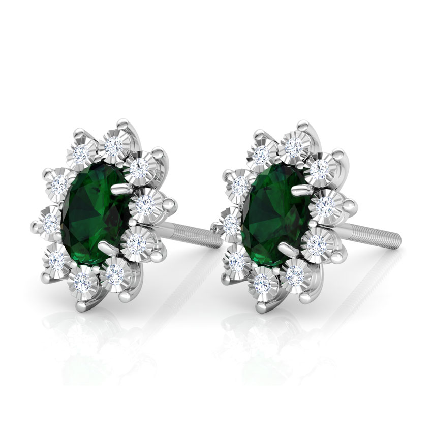 Diamond,Gemstone Earrings 18 Karat White Gold Haze Royal Diamond Stud Earrings