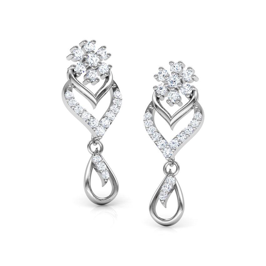 Diamond Earrings 18 Karat White Gold Floral Diamond Drop Earrings