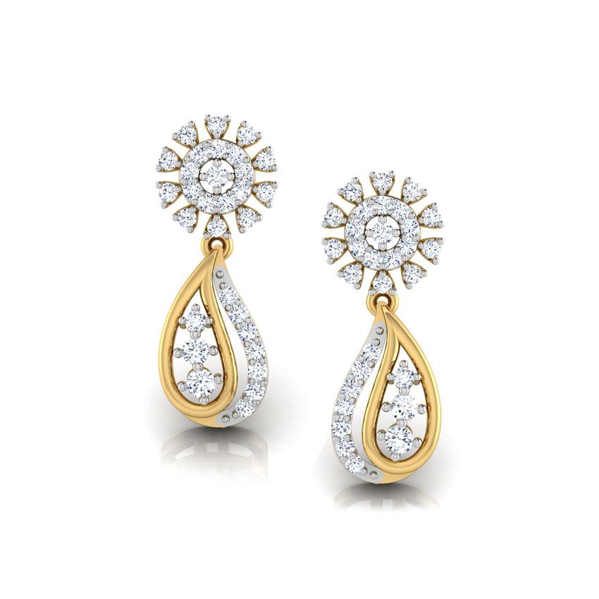 Diamond Earrings 18 Karat Yellow Gold Motif Diamond Drop Earrings