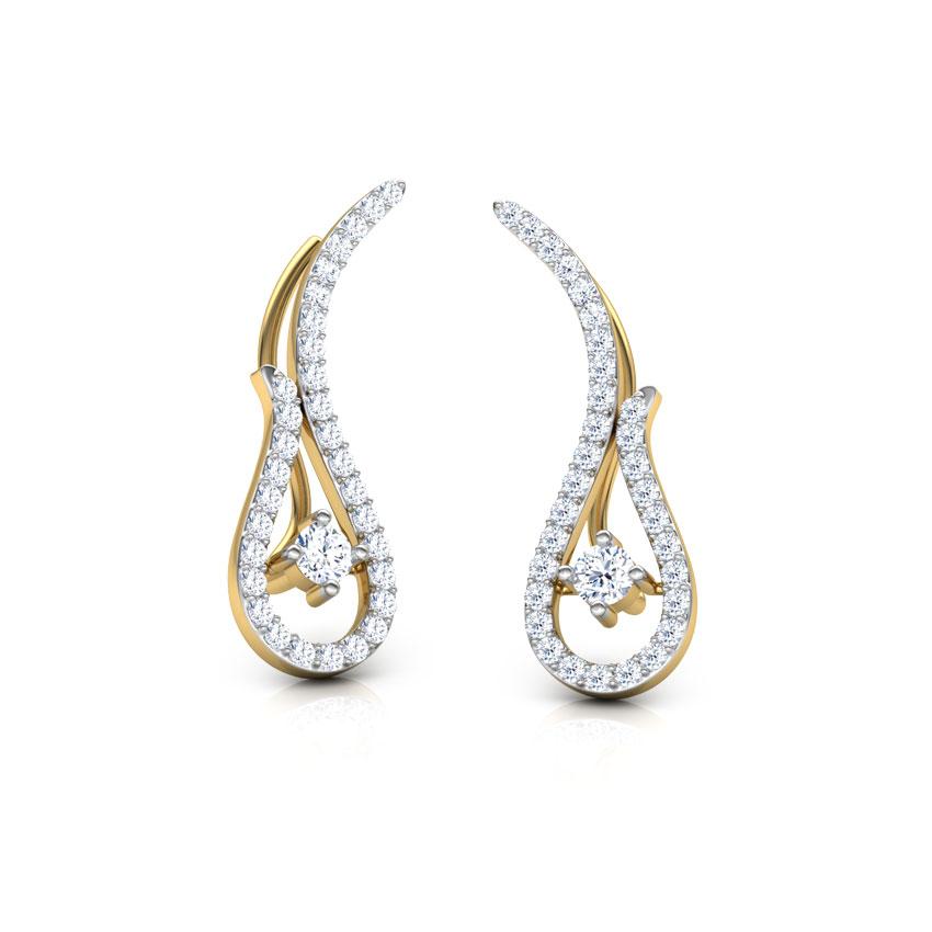 Diamond Earrings 18 Karat Yellow Gold Aalia Diamond Ear Cuffs