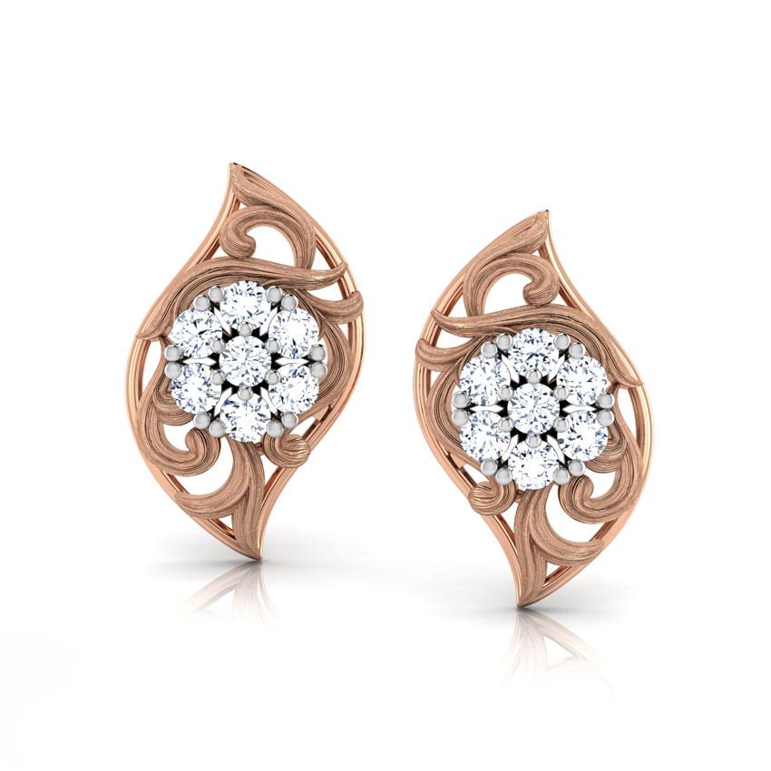 Diamond Earrings 18 Karat Rose Gold Cluster Twist Diamond Stud Earrings