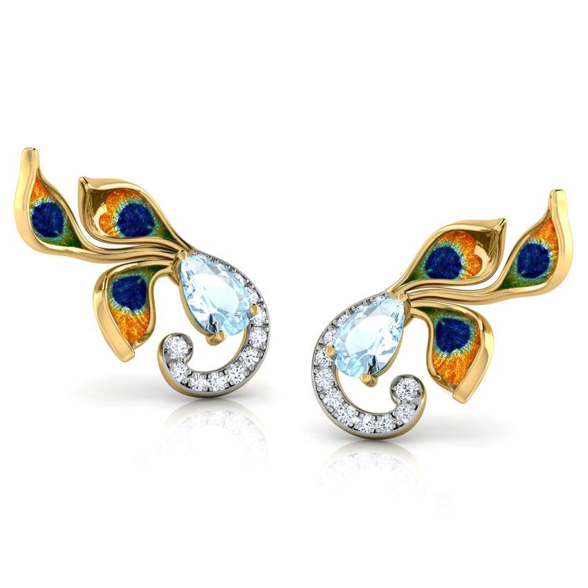 Diamond,Gemstone Earrings 18 Karat Yellow Gold Princess Peacock Gemstone Ear Cuffs