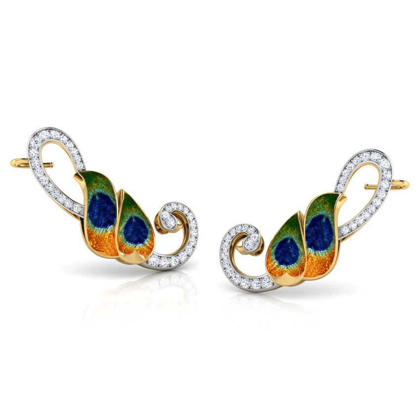 Peacock Plumes Ear Cuffs