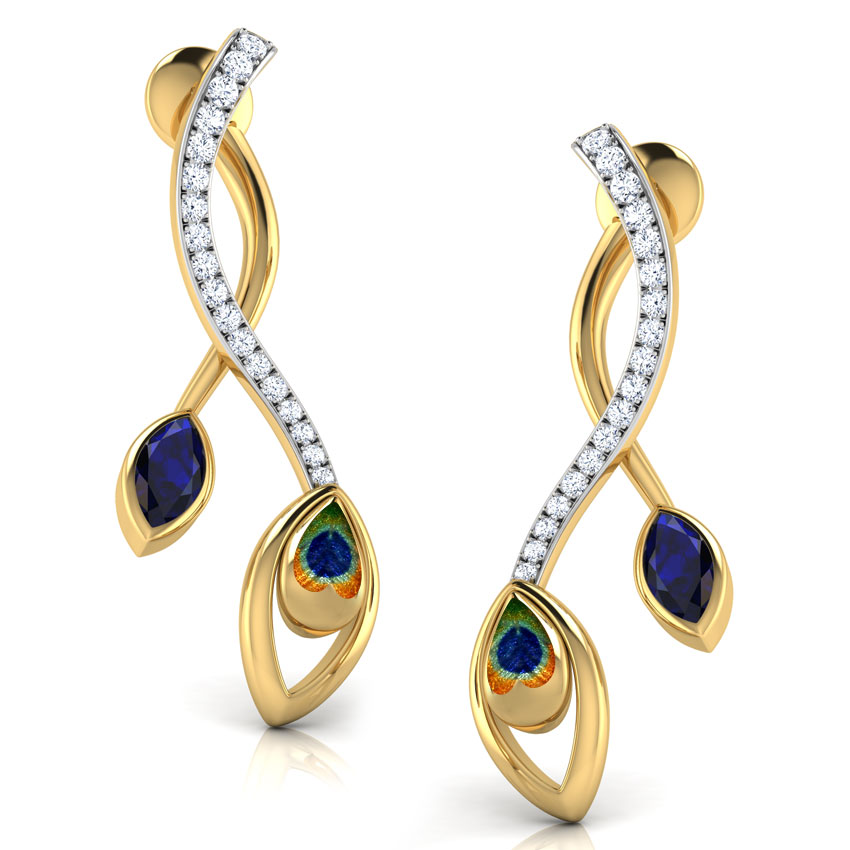 Diamond,Gemstone Earrings 18 Karat Yellow Gold Entwined Peacock Gemstone Stud Earrings