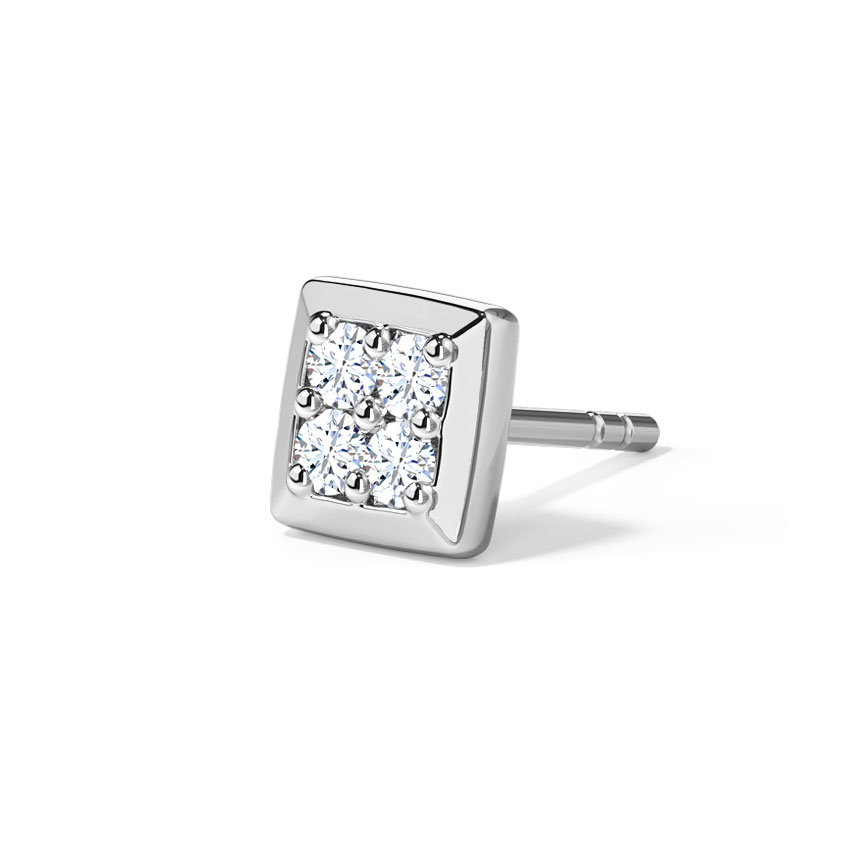 Diamond Earrings 14 Karat White Gold Paul Ear Diamond Stud for Men