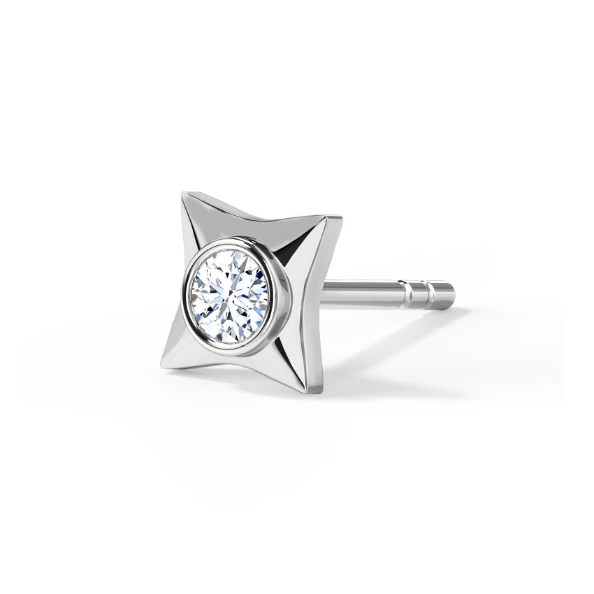 Diamond Earrings 18 Karat White Gold Marc Diamond Ear Stud for Men