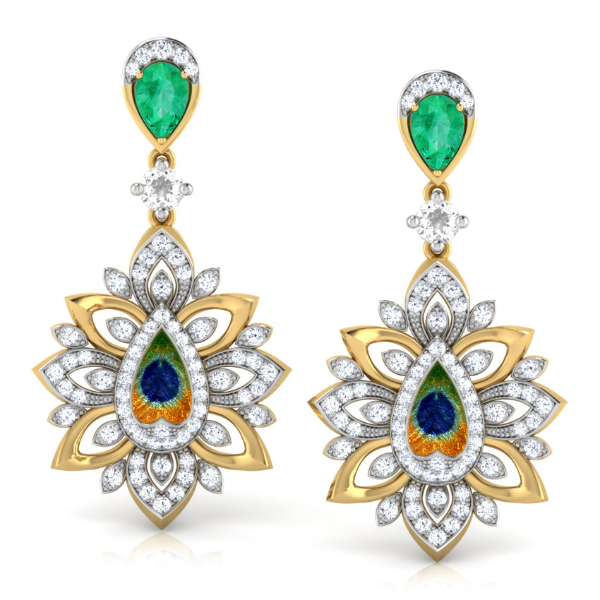 Diamond,Gemstone Earrings 18 Karat Yellow Gold Flair Peacock Drop Earrings