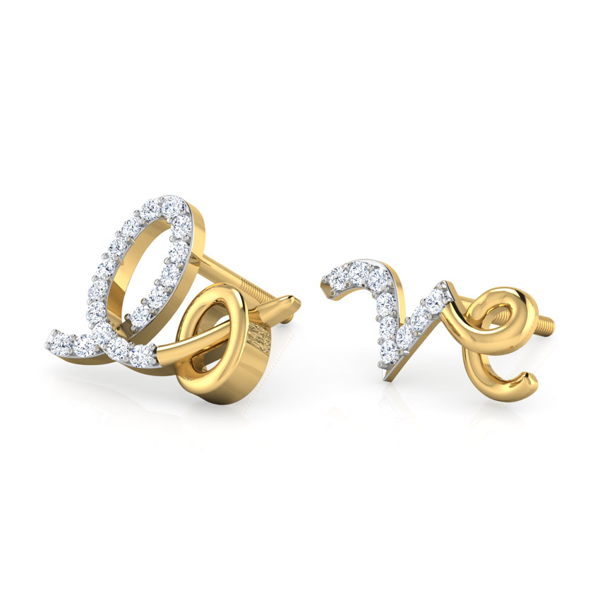 Diamond Earrings 18 Karat Yellow Gold Lo & Ve Mismatched Diamond Stud Earrings