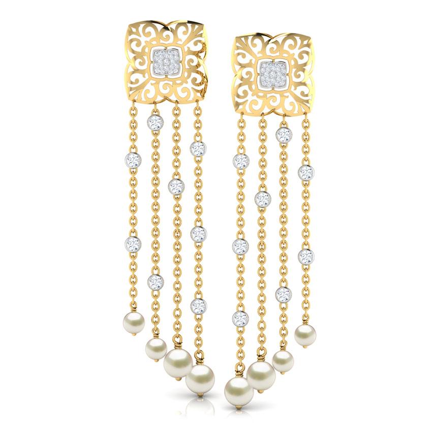 Diamond,Gemstone Earrings 18 Karat Yellow Gold Kylie Layered Gemstone Drop Earrings