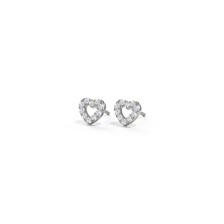 Fine Heart Stud Earrings