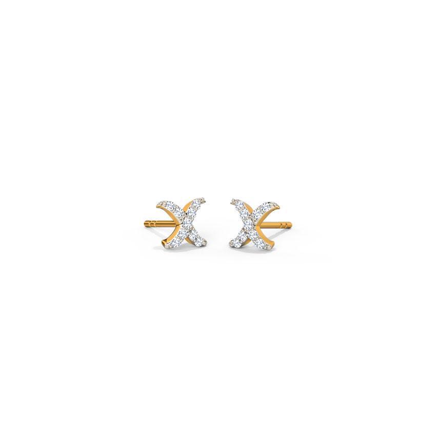 Diamond Earrings 18 Karat Yellow Gold Cross Diamond Stud Earrings