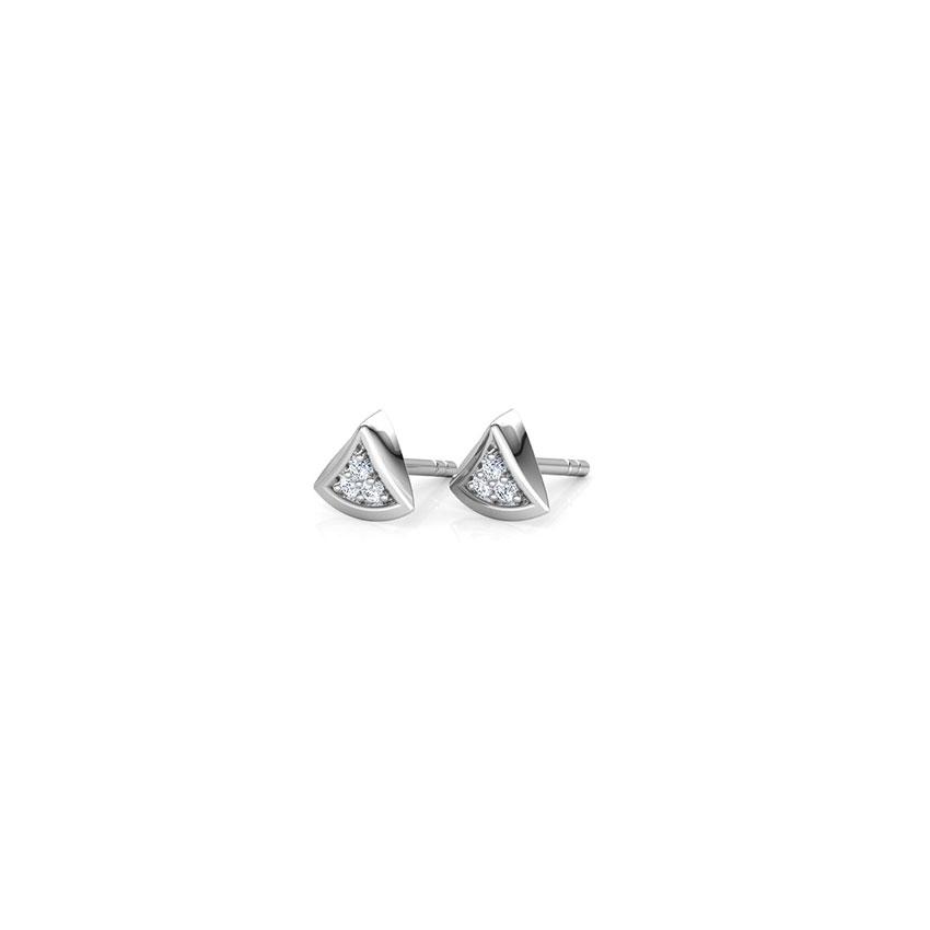 Diamond Earrings 18 Karat White Gold Trillium Diamond Stud Earrings