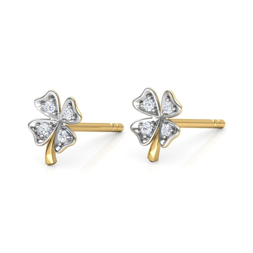 Diamond Earrings 18 Karat Yellow Gold Clover Petal Diamond Stud Earrings