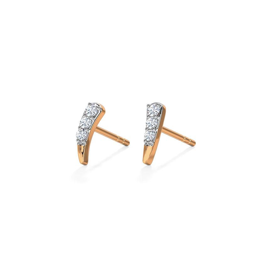 Diamond Earrings 18 Karat Rose Gold Arch Multi Pierced Diamond Stud Earrings