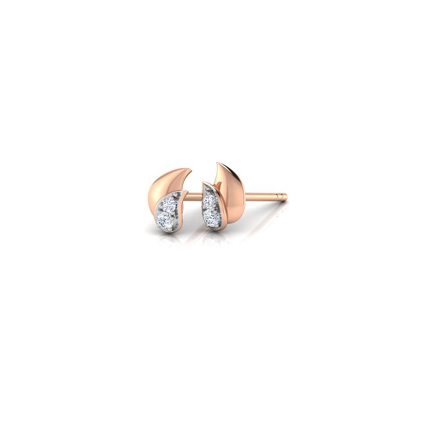 Diamond Earrings 18 Karat Rose Gold Duo Paisley Multi Diamond Stud Earrings