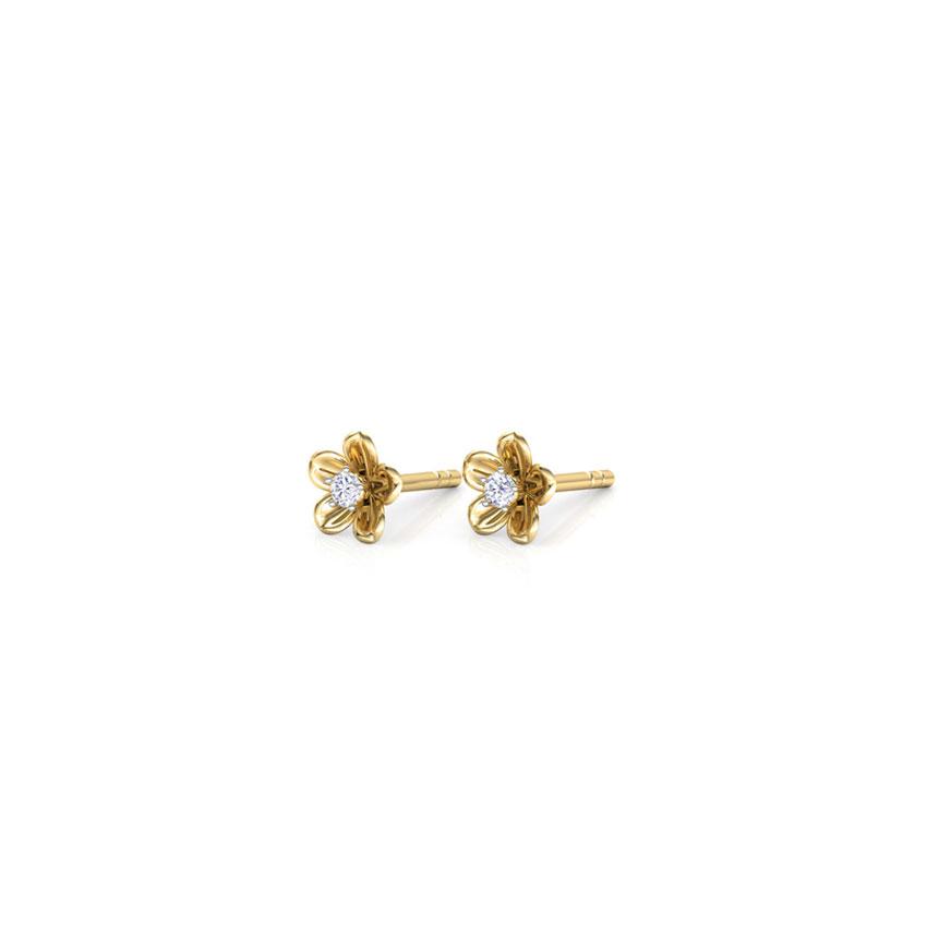 Diamond Earrings 18 Karat Yellow Gold Vinca Stud Diamond Stud Earrings