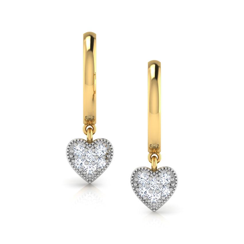 Sparkle Heart Hoop Earrings