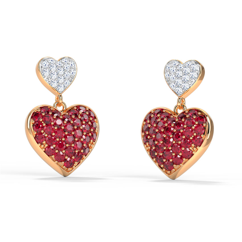 Diamond,Gemstone Earrings 18 Karat Rose Gold Duo Heart Drop Earrings